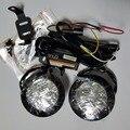 Высокое качество 2X автомобилей drl Круг Круглый Дневного Света передней дневного света 4 СВЕТОДИОДНЫХ противотуманных фар водонепроницаемый диммер flash ECE Е4 R87 RL00