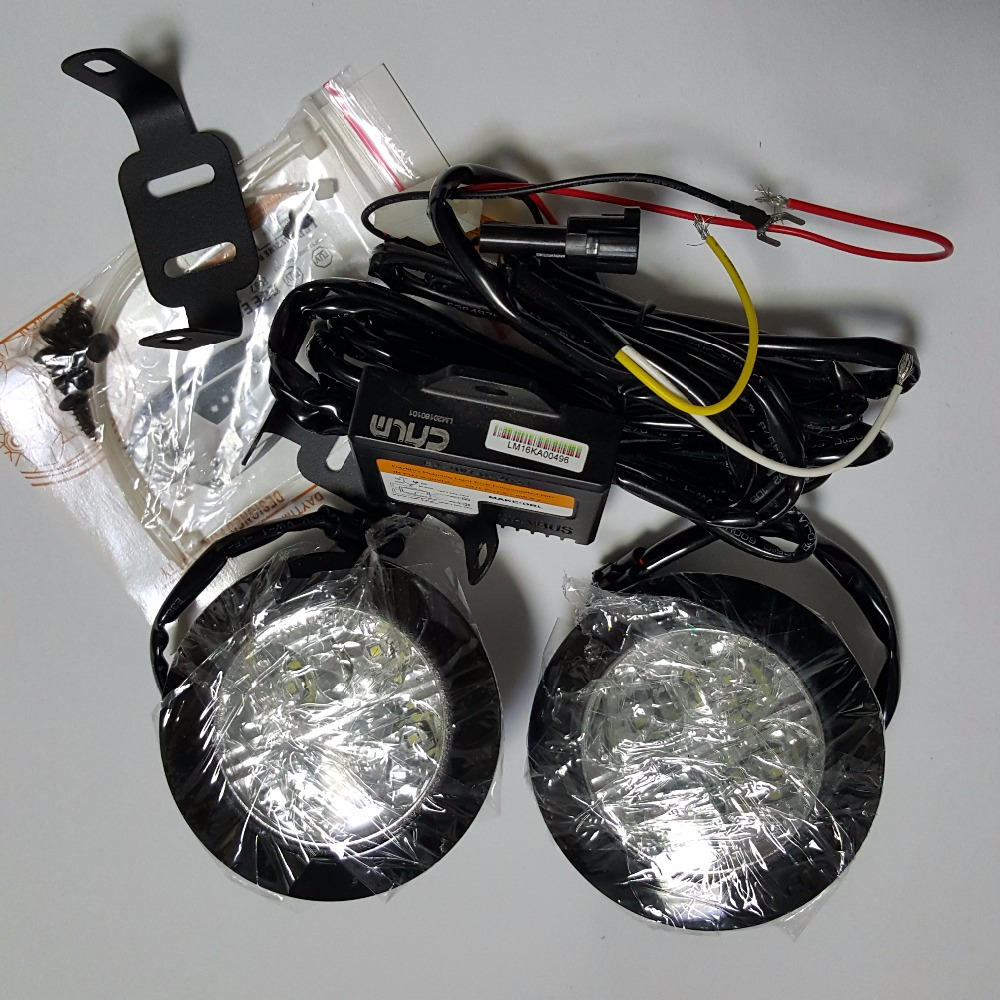 CNLM 2X drl de coche Circle Round Daytime Running Light luz diurna frontal 4 LED faro antiniebla dimmer impermeable flash E4 R87 ECE RL00