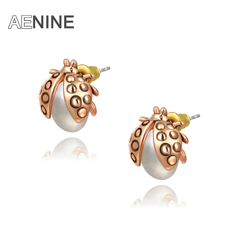 AENINE Rose Gold Color Lovely Ladybird Design Powder Synthetic Pearl Stud Earrings L2020295230