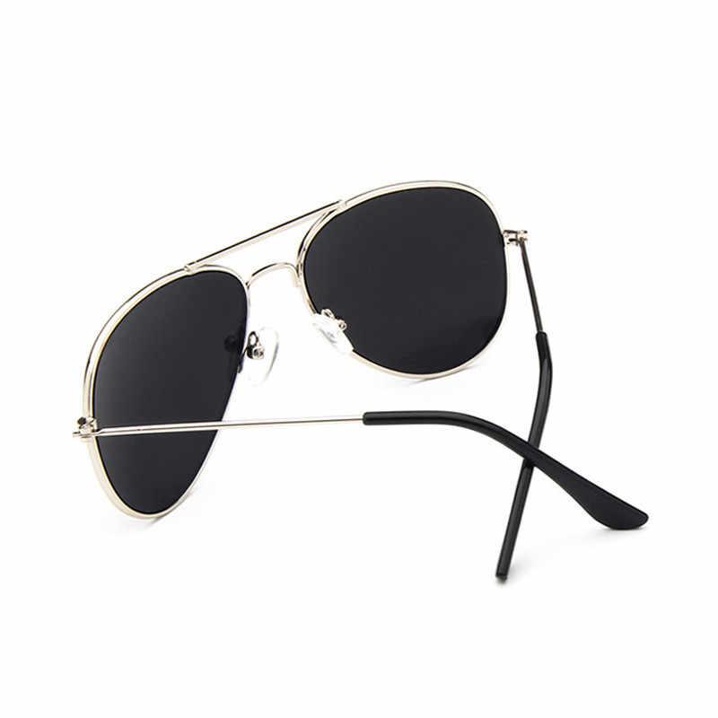 Vintage piloto gafas de sol niños marca diseño espejo lente de marco de Metal UV400 tonos oculos de sol feminino