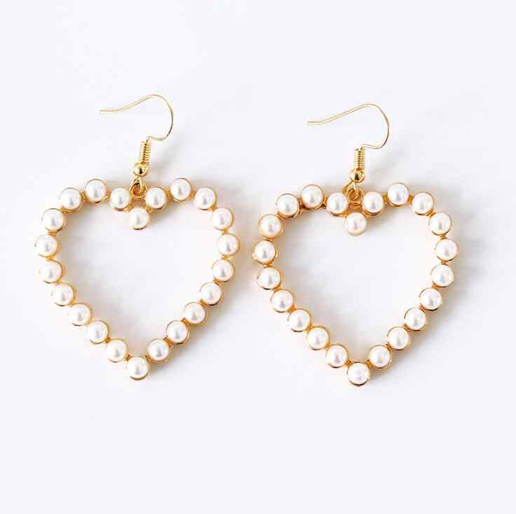 High Quality Simple Fashion Jewelry Peach Heart Pearl stud Earrings Female Love Earrings Boucle D'oreille Femme 2019 New gift