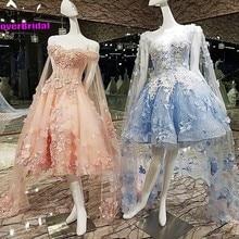CloverBridal romantic lace appliques tea length pink pregnan