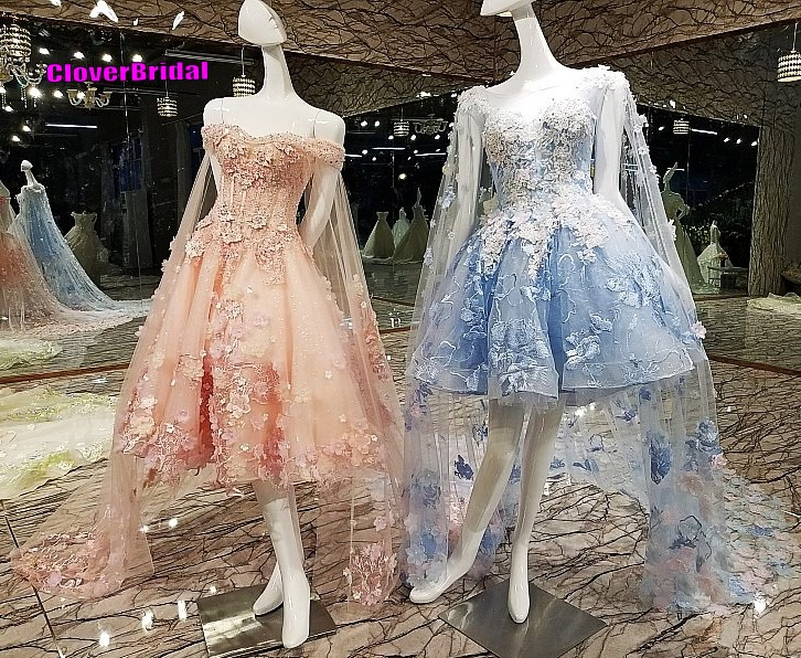 CloverBridal romantic lace appliques tea length pink pregnant prom dress with long soft tulle shoulder yarn for maternity women