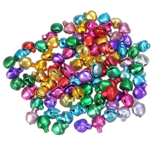 2016 New Year 100pcs Colored Small Jingle Bells Merry Christmas Decorations Ornament for Home Jewellery Xman Cristmas Tree 6mm
