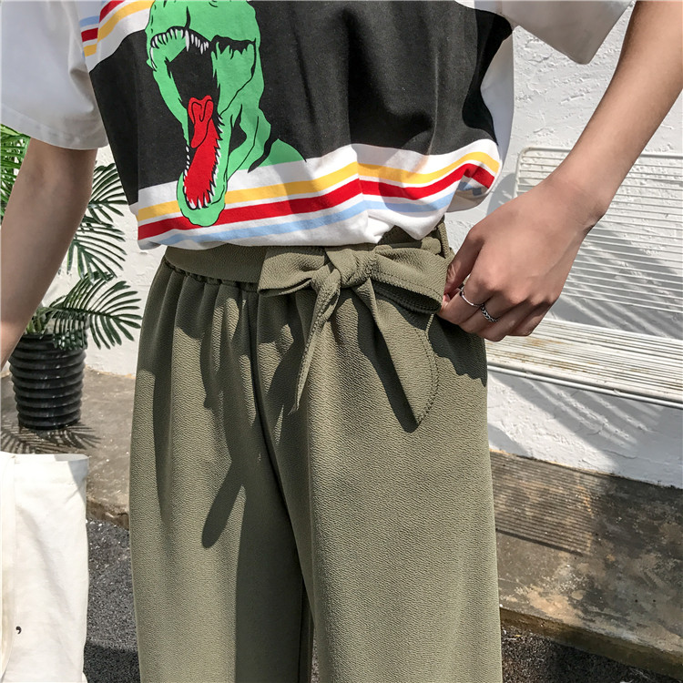 19 Women Casual Loose Wide Leg Pant Womens Elegant Fashion Preppy Style Trousers Female Pure Color Females New Palazzo Pants 24
