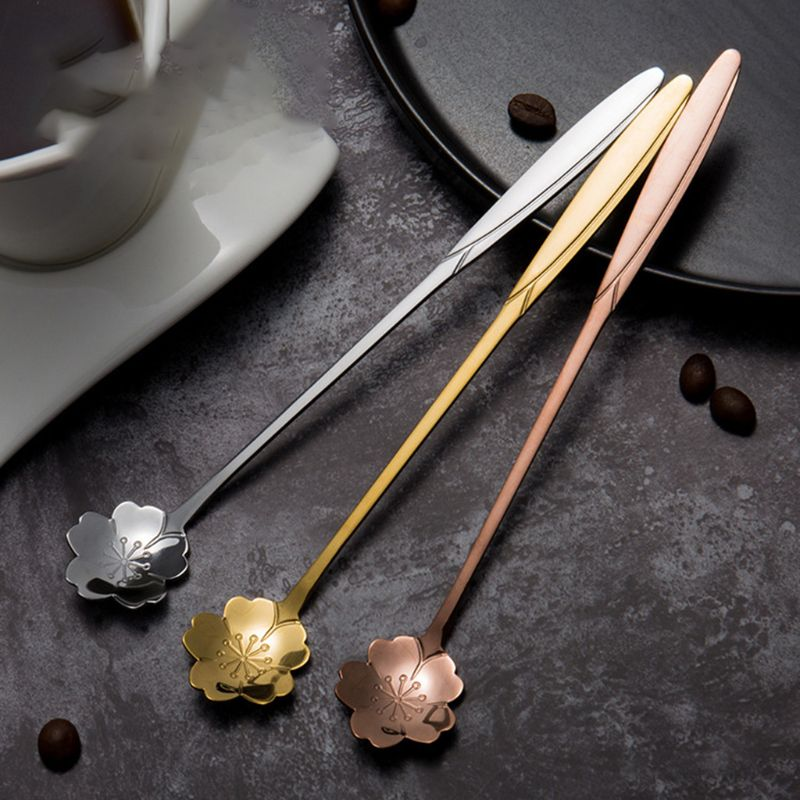 3pcs Stainless Steel Long Handle Coffee Tea Bar Drink Cocktail Mixing Spoon Stirrer Kitchen Teaspoon Tableware