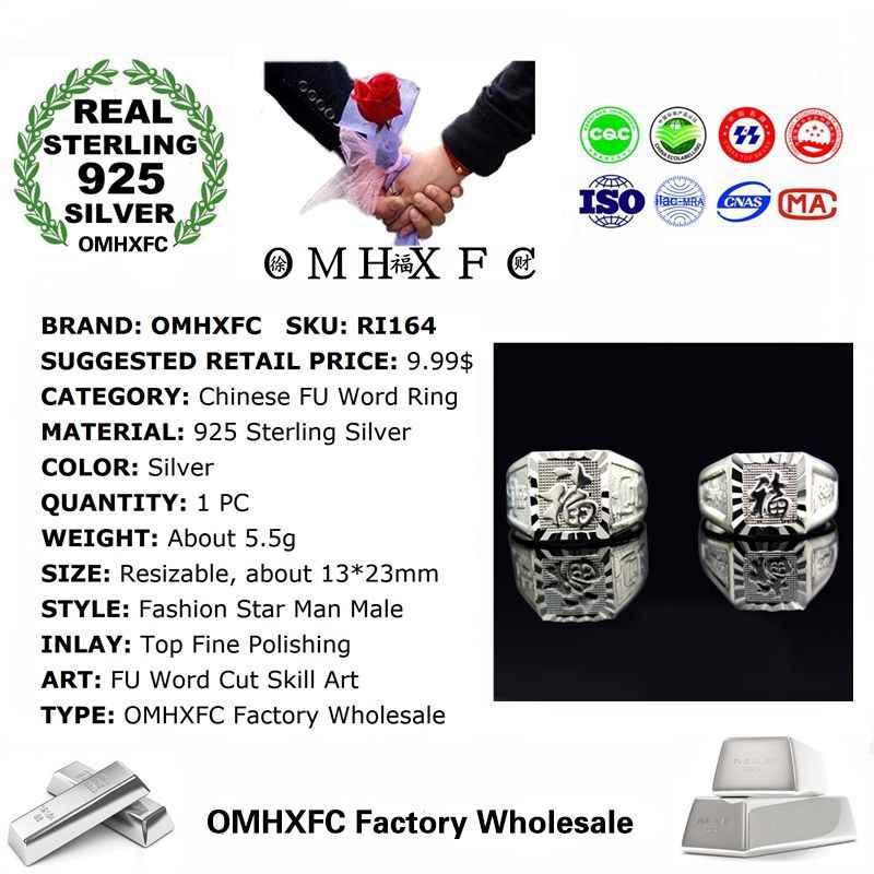 OMHXFC al por mayor moda europea hombre fiesta boda cumpleaños regalo chino FU palabra resistente 925 anillo de plata de ley RI164