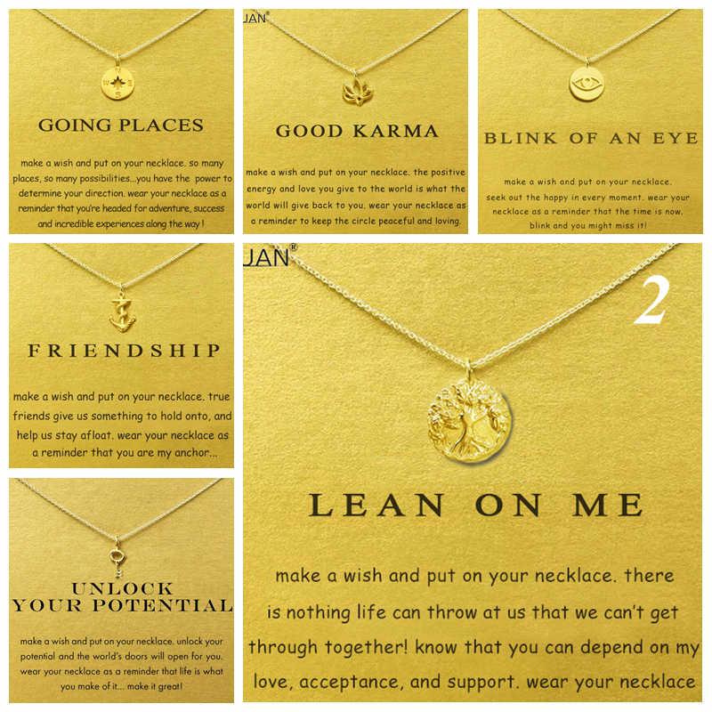 ゴールドカード要約 2: 命の木コンパスアンカーキーチョーカーゴールドステートメントネックレスジュエリーチェーン女性 Collares コラル Kolye