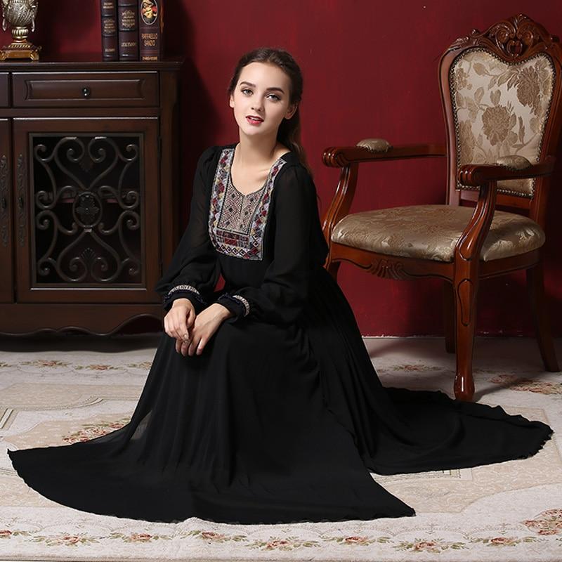 2017 Muslim Dress Women Abaya Retro Dress Chiffon Long Sleeve Modern Muslim Clothing Vintage