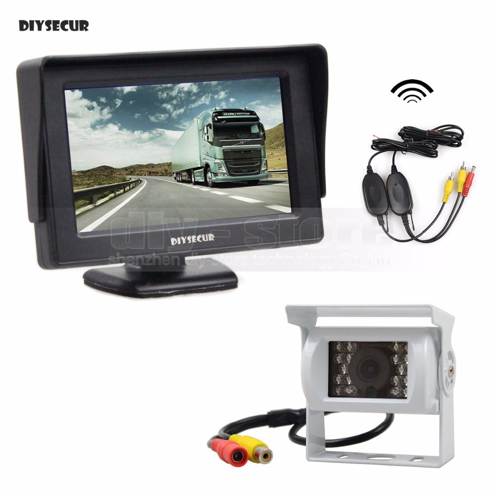 DIYSECUR 4 3inch Car Rear View Monitor IR CCD Backup Camera Parking Assistance System for Trucks