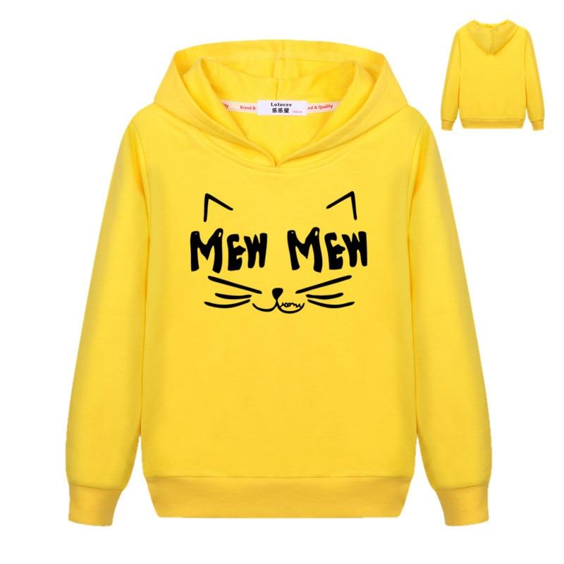 Autumn Winter Ear Cat MEW Harajuku PINK Pullover Hoodies Girls Hooded Sweatshirt Long Sleeve Thin Basic Top for Kids Boys 3