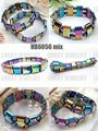 (Free Shipping by Seller+Mixed Colors 30PCS/PACK+Chirstmast Gift) Hematite Bracelet with Rainbow Beads 7.5-8''