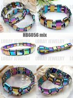 Free Shipping By DHL Mixed Colors 30PCS PACK Chirstmas Gift Magnetic Hematite Bracelet With Rainbow