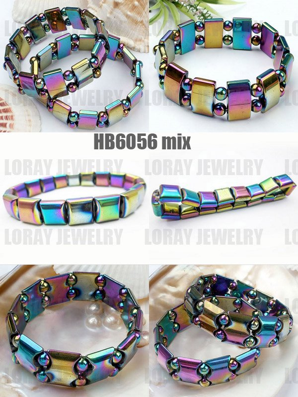 (Mixed Models 30 PCS/PACK) Fashion Bio magnetic Weight Loss Hematite Bracelet with Rainbow Color Beads 7.5 8''