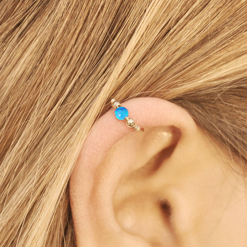 Silver Cartilage Piercing White Opal Cartilage Hoop Earring White Opal Helix Earring 20GA Fire Opal Nose Ring Silver Boho Body Jewellery