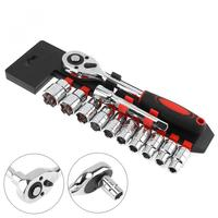 12pcs / Set Socket Wrench 1 / 2 Ratchet Wrench Set 125mm Connecting Rod 10 24mm Sockets Hand Tools