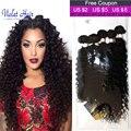 Produtos de cabelo rainha com fecho pacote cabelo encaracolado peruano com fecho de Cabelo Humano Com Fechamento 6 pcs 200g Peruano Cabelos Cacheados crespo