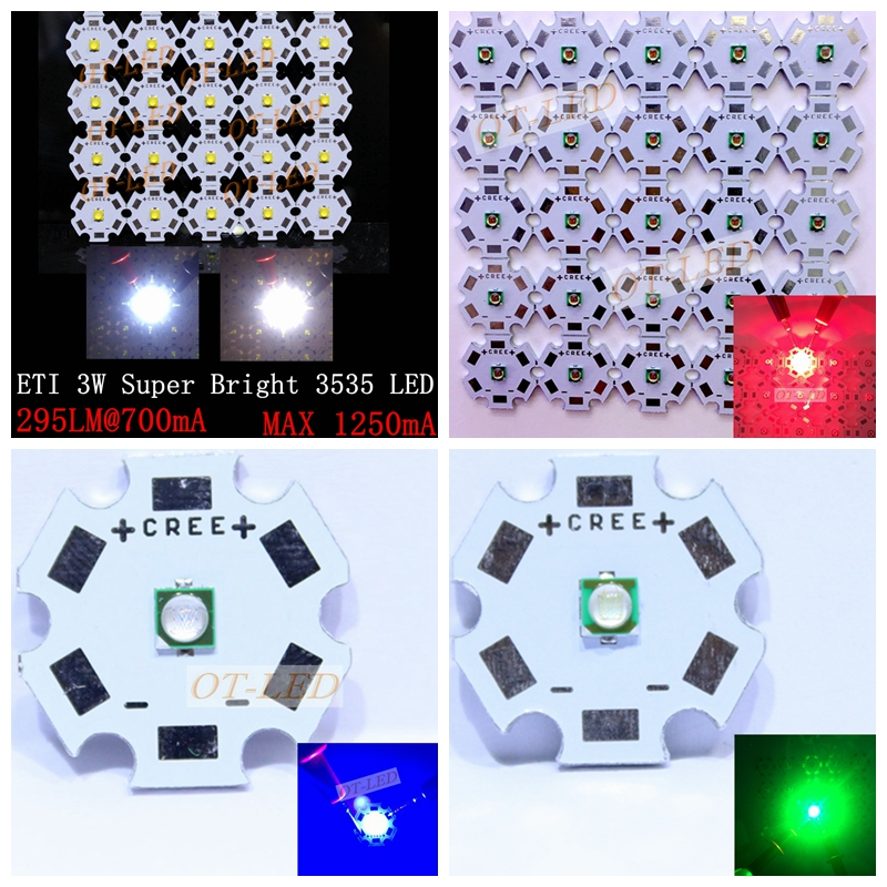 20PCS 3W 3535 SMD High Power LED diode Chip light emitter Cool White Warm White Red Green Blue instead of CREE XPE XP-E led singfire 800lm white light led emitter