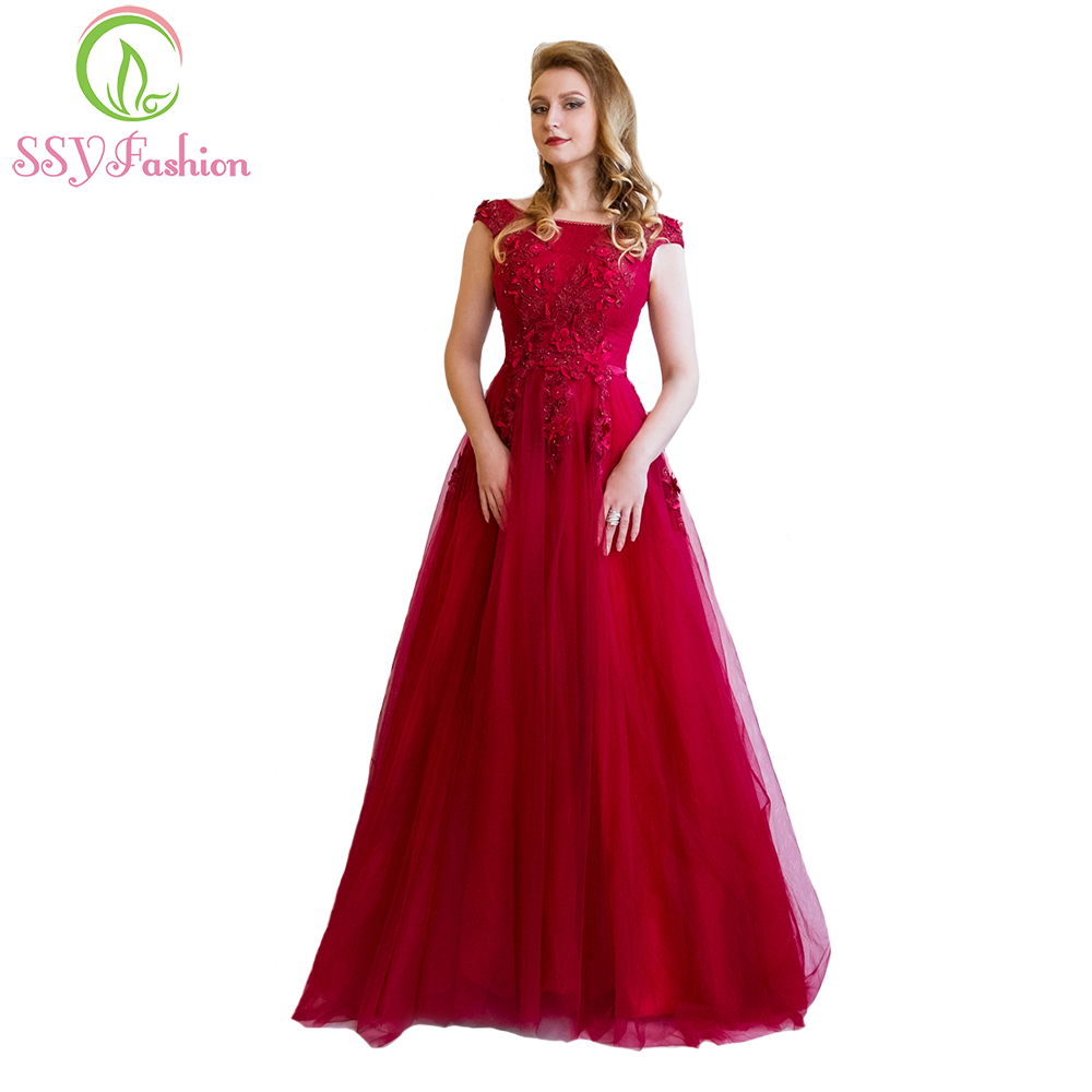 Robe De Soiree SSYFashion Banquet Elegant Evening Dress The Bride Wine Red Lace Flower Beading Long Party Prom Dresses Custom