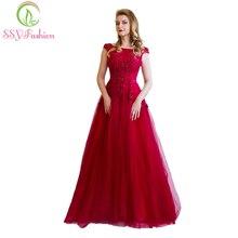 Robe De Soiree SSYFashion, элегантное вечернее платье для банкета, невесты, цвета красного вина, кружевное, с цветами, с бисером, длинное, для вечеринки, выпускного, платья на заказ