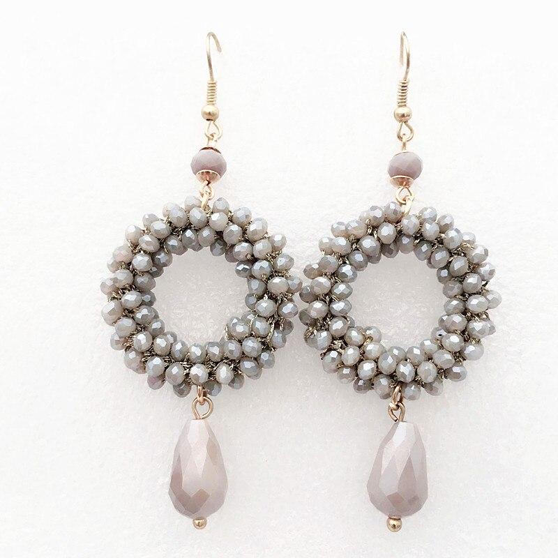Estilo barroco pequeno cristal brincos longos para as mulheres pingente de gota oorbellen handmade 2018 moda festa de jóias presente de Natal