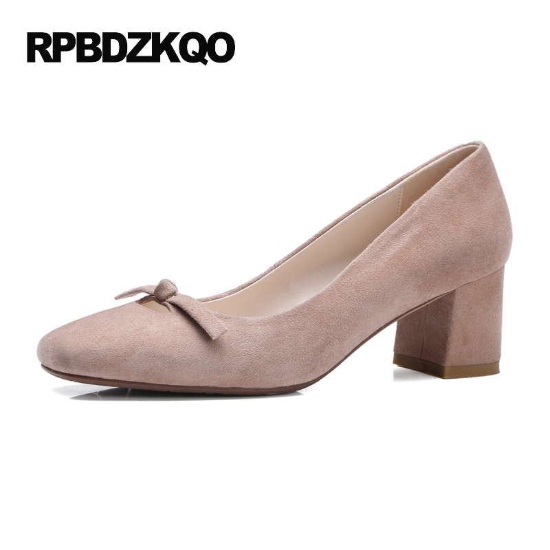 Chunky Size 33 Pumps Square Toe High Heels Cute Korean Suede Nude Medium Bow Casual Shoes Women 2017 4 34 New Spring Autumn black ladies cool casual pumps wedge korean slip on high heels suede creepers big size 4 34 green platform shoes round toe