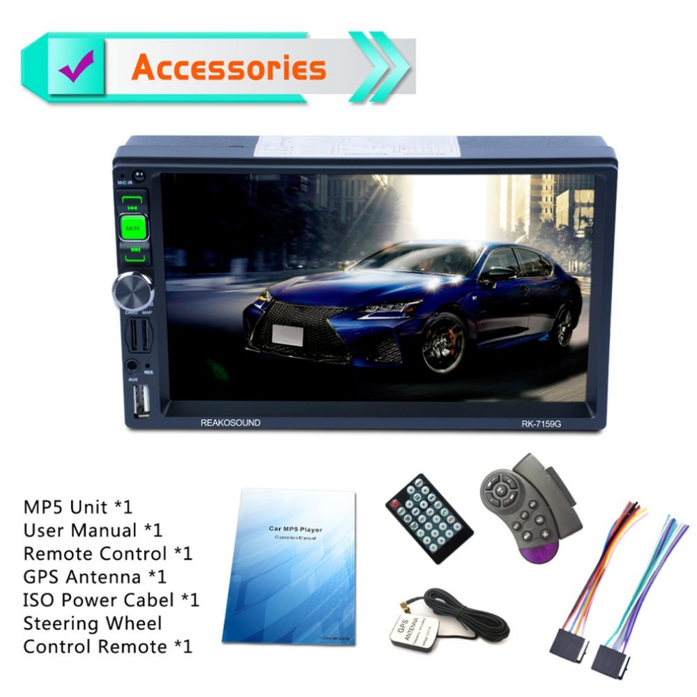 NEW 7159G 7 Full HD 1080P Car DVD MP5 Player GPS Navigator Bluetooth FM/RDS Radio Car Multimedia Player Support Mirrorlink 5 resistive screen wince 6 0 gps navigator w fm transmitter tf 4gb brazil map black red
