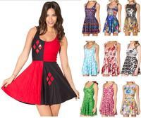 Mùa hè Ăn Mặc Phụ Nữ Không Tay O-Cổ Dệt Kim Satin Đảng Skater Dresses Casual Sundress Red Xanh Đen Trắng Kawaii