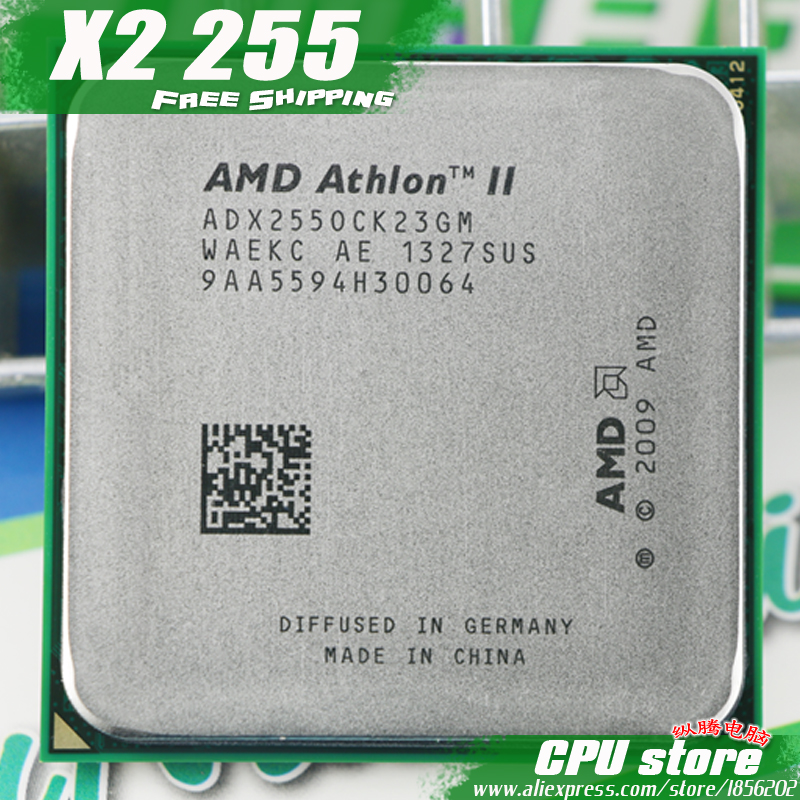 AMD Athlon II  X2 255 CPU Processor (3.1Ghz/ 2M /2000GHz) Socket am3 am2+  free shipping 938 pin  there are  sell X2 250 CPU|cpu hdd|x2 dual core processor|cpu socket type am3 - title=