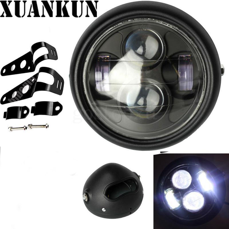 XUANKUN GN125 Motorcycle Modified Retro LED Headlamp Assembly Iron Shell Black Light Headlights