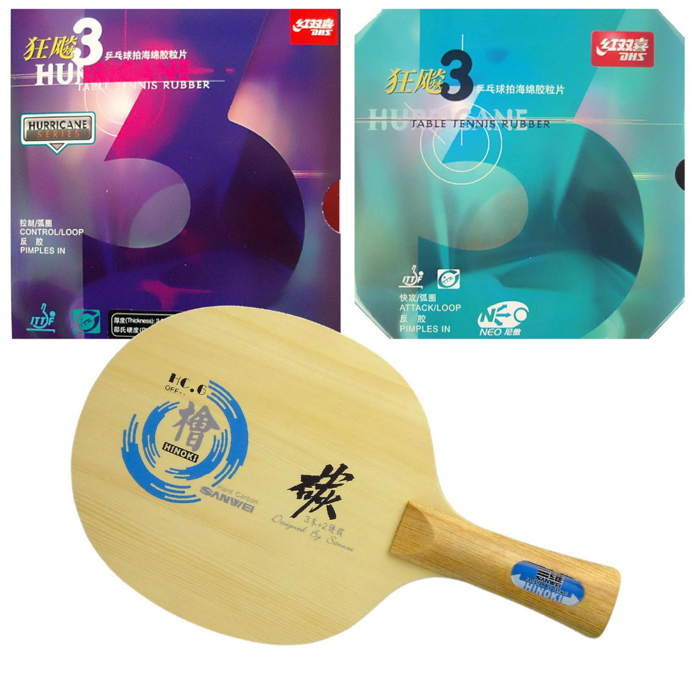 Pro Combo Racket, Sanwei HC.6 Long Shakehand-FL with DHS NEO Hurricane 3 and Hurricane 3 patriot max power srge 3500