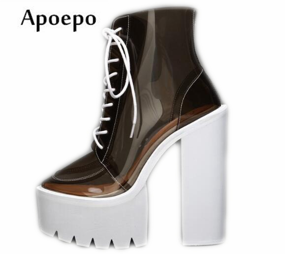 New Punk Style High Heel Boots for Woman 2018 Sexy Transpart PVC Thick Heels Ankle Boots Lace-up Platform Riding Boots все цены