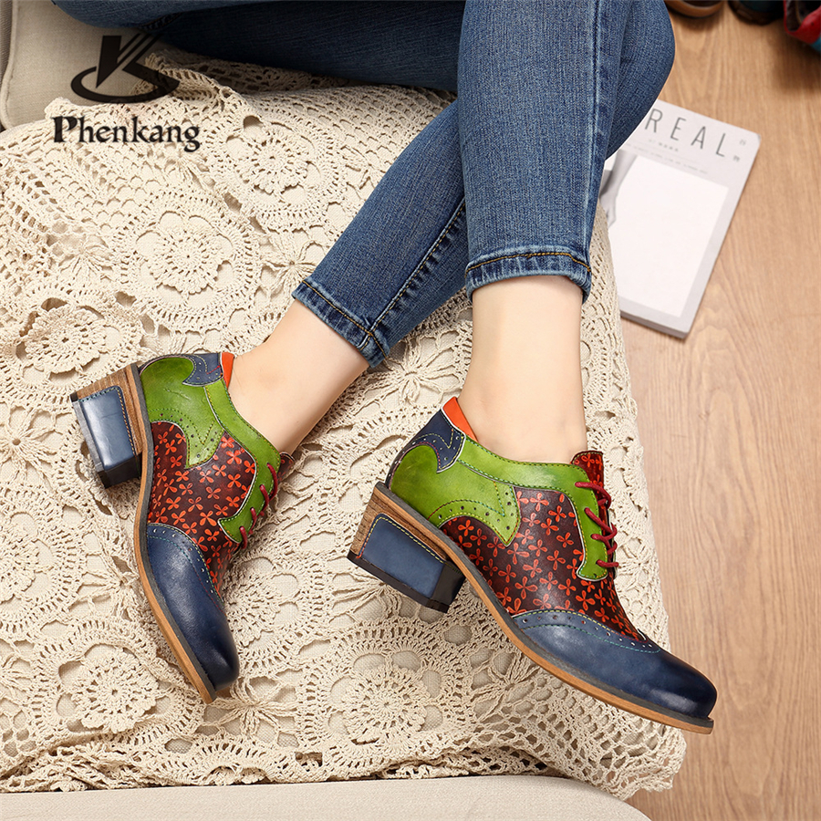 Genuine cow leather Retro lady Pumps casual shoes vintage women handmade oxford shoes for women blue green 2019 spring in Women 39 s Pumps from Shoes