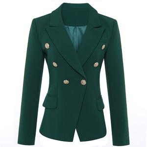 Image 2 - באיכות גבוהה הכי חדש 2020 מעצב בלייזר נשים של ארוך שרוול טור כפתורים כפול מתכת האריה כפתורים בלייזר מעיל חיצוני כהה ירוק