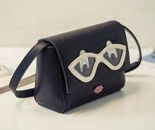 Super cute fashion new glasses red lips shoulder Messenger bag, sweet adorable quality lady belt bag
