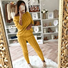 KANCOOLD Set women Ladies Solid Off Shoulder Cable Knitted Warm 2PC Suit Set Loungewear Solid fashion new women Set 2019FEB7(China)