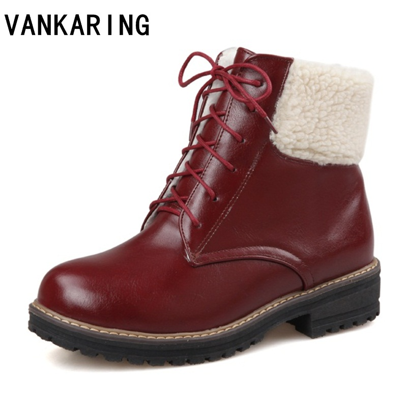 VANKARING classic women winter boots PU leather ankle snow boots female warm fur plush quality botas mujer lace-up platfom shoesVANKARING classic women winter boots PU leather ankle snow boots female warm fur plush quality botas mujer lace-up platfom shoes