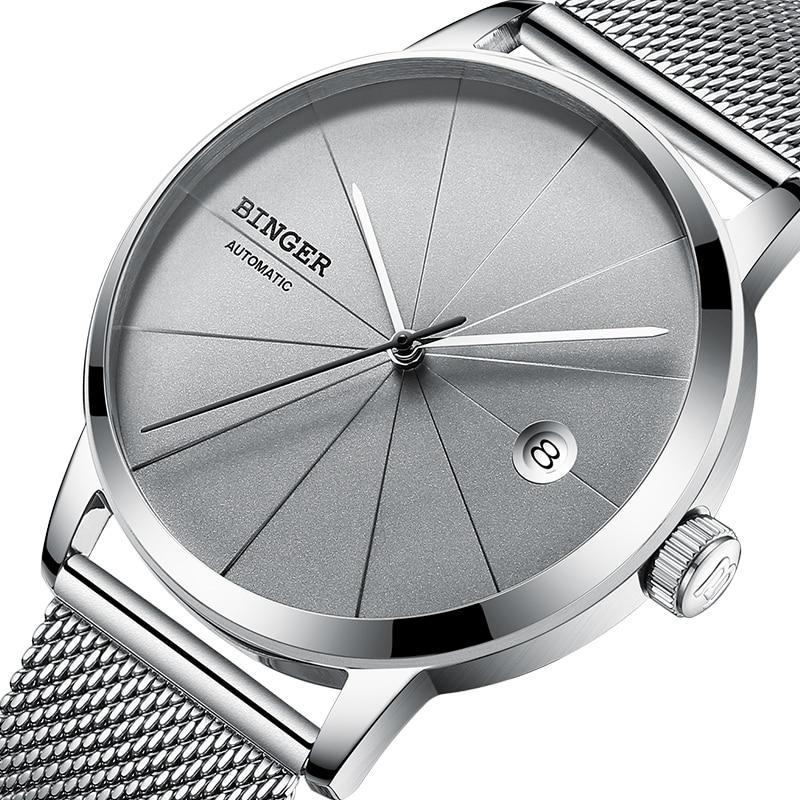 2018 BINGER hommes montres de luxe marque automatique mécanique hommes montre saphir montre-bracelet mâle japon Movemt reloj hombre B5079-3