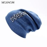 MOSNOW Hat Female Women Wool Rhinestone 2018 High Quality New Winter Knitted Beanie Cap For Girls
