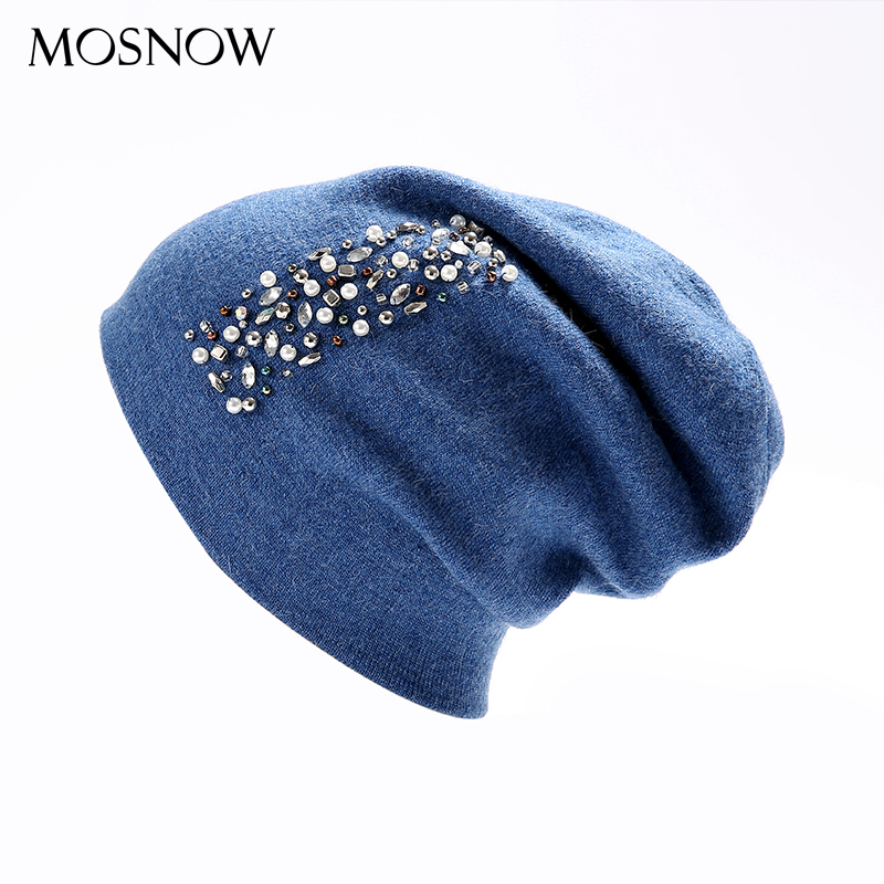 Hat Female Women Wool Rhinestone 2019 High Quality New Winter Knitted Beanie Cap For Girls Skullies Bonnet Femme #MZ879
