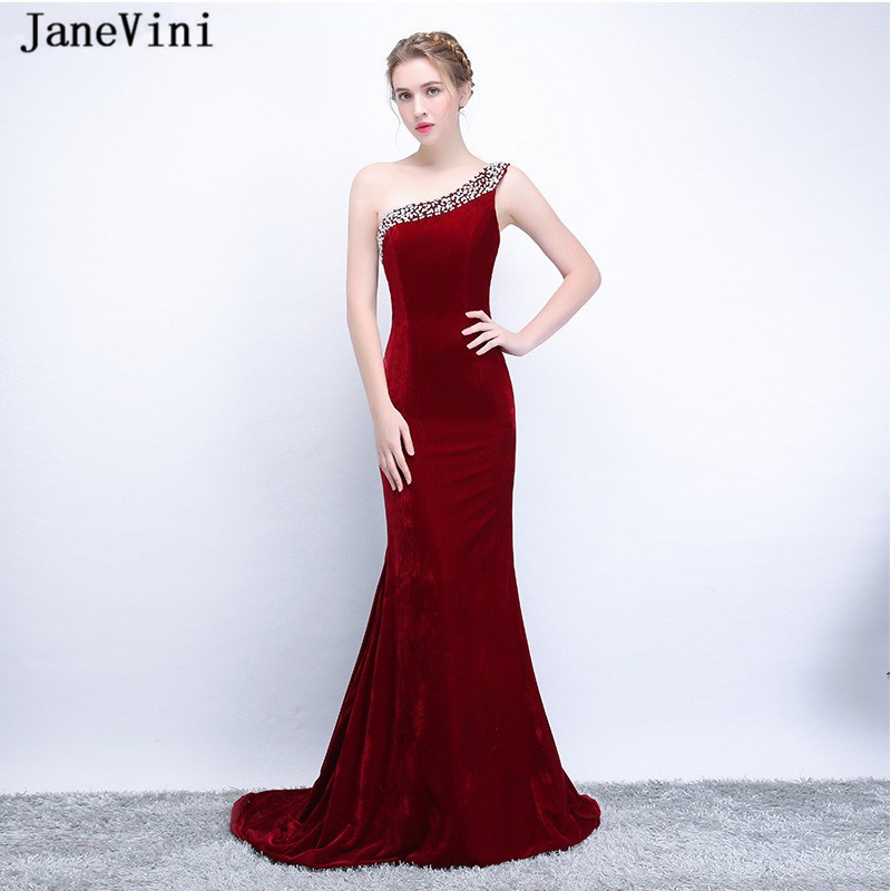JaneVini Burgundy One Shoulder Sequined Beaded Mother Of The Bride Dresses Mermaid Velvet Sweep Train Wedding Party Formal Gowns