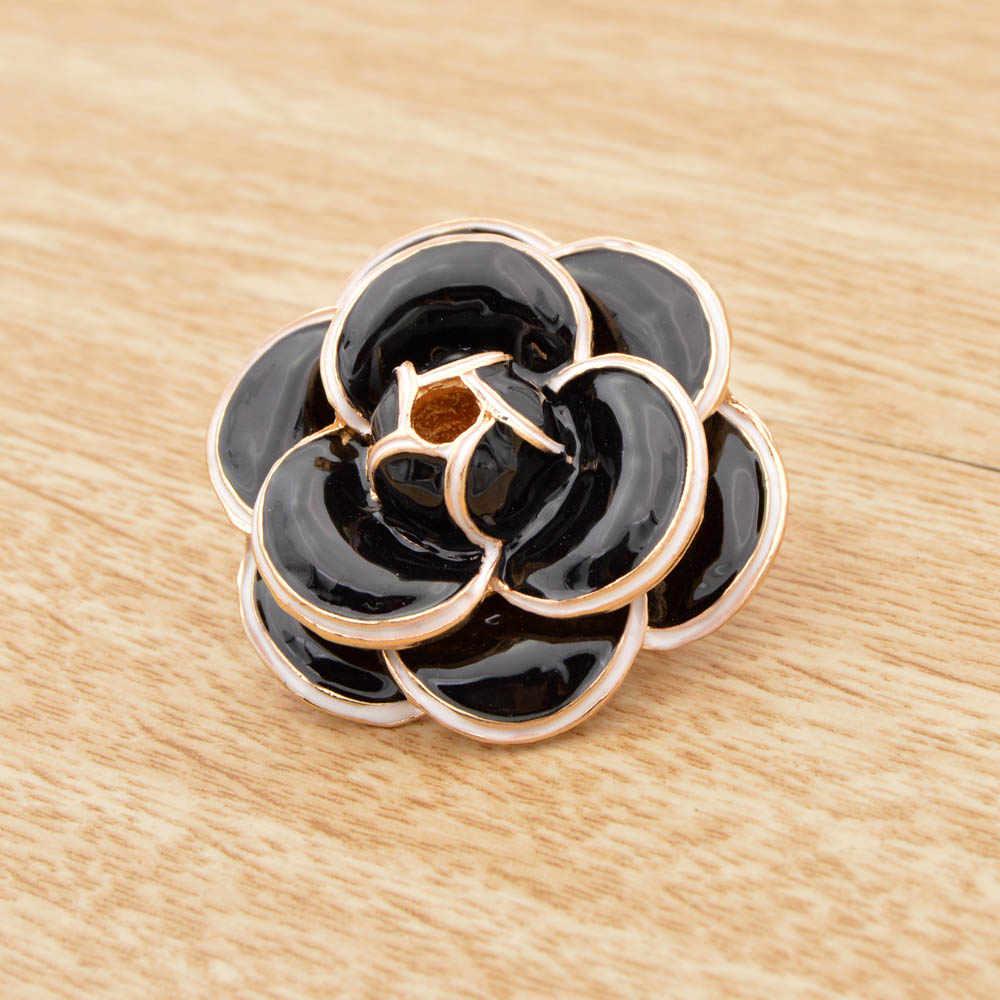 Cindy Xiang Enamel Galiano Camellia Bunga Bros untuk Wanita Warna Hitam Fashion Mantel Tas Pin Baru Hadiah Perhiasan