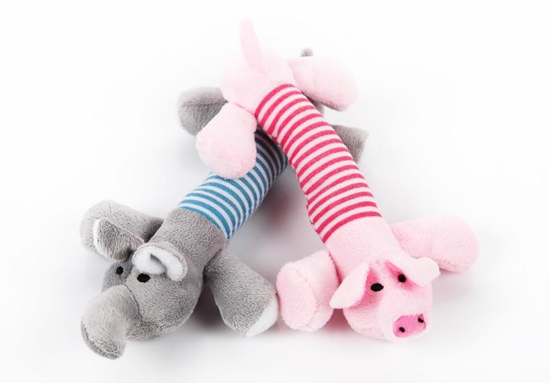 2 pçs/lote New Dog Toys Filhote de Cachorro do animal de Estimação Chew Squeaker Squeaky Plush Som Pato Porco & Brinquedos Do Elefante Rosa Azul Bebê brinquedos