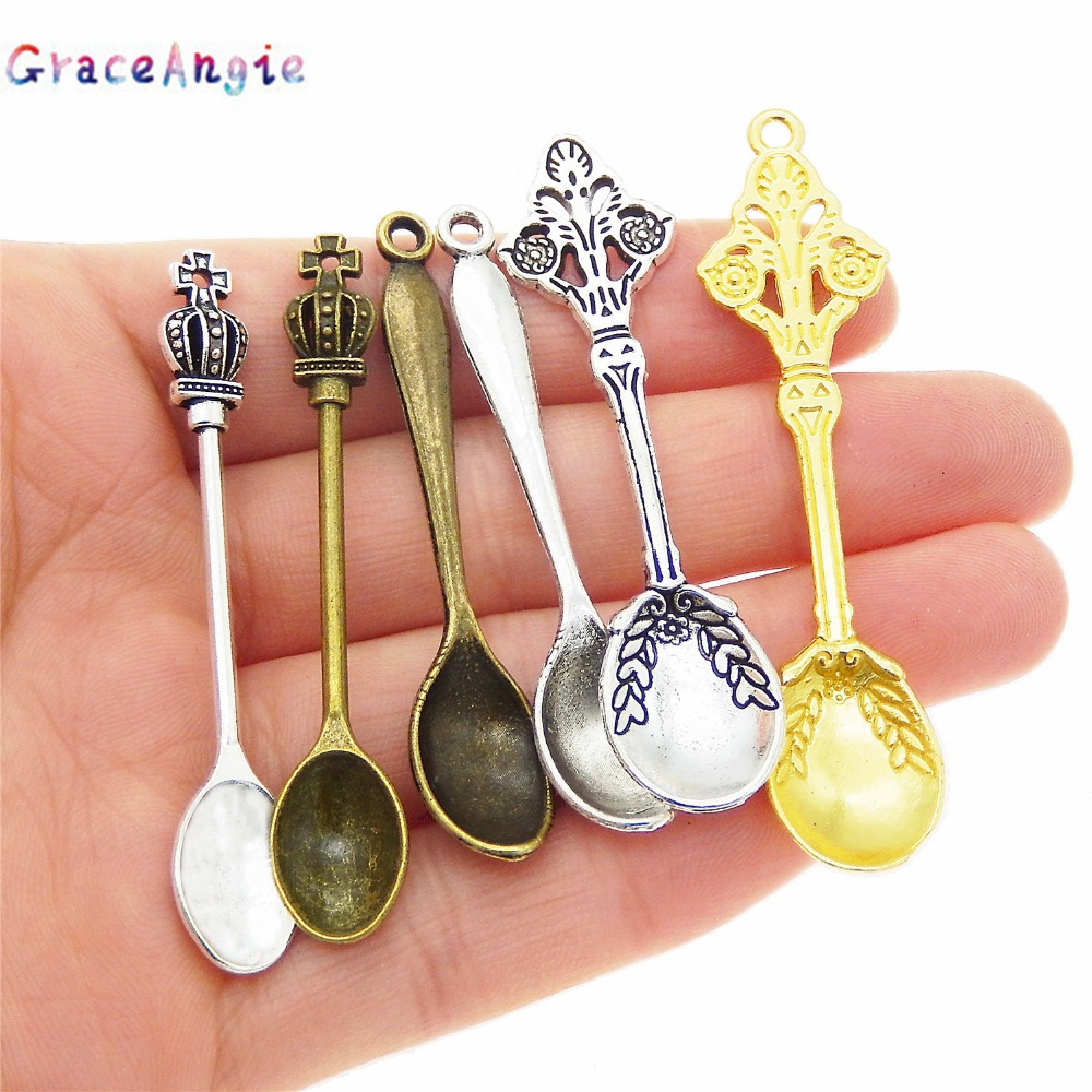 12 Spoon Gold Plated Charms Pendants Jewelry Making Findings