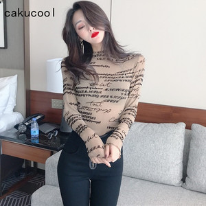 Cakucool Letters Print Basic Spring Shirt Women Long Sleeve Turtleneck Shiny lurex Blouse Sexy Korean Slim Shirt Tops Female(China)