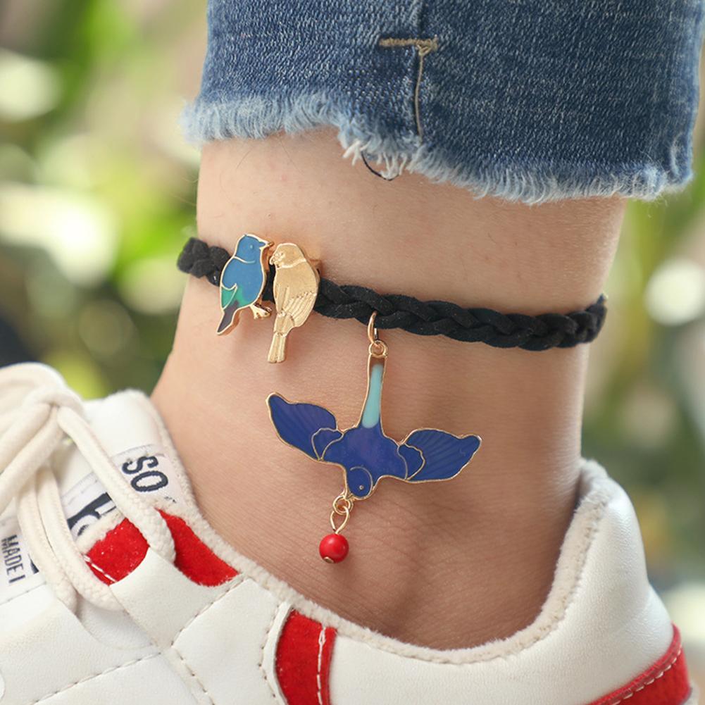 Fashion Women Enamel Parrots Pendant Braided Rope Anklet Foot Jewelry Bracelet Gift new