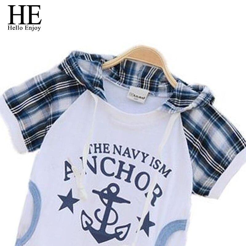 HE Hello Enjoy детская одежда для девочек 2017 детская одежда девушки плед детская одежда с коротким рукавом одежда устанавливает мальчики комплект одежды
