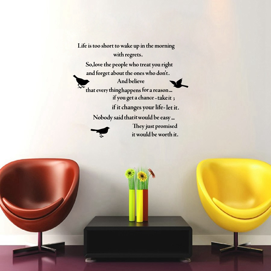 """Poem Quotes About Life Poem Quotes""""life Is Too Short"""" Vinyl Wall Sticker"""