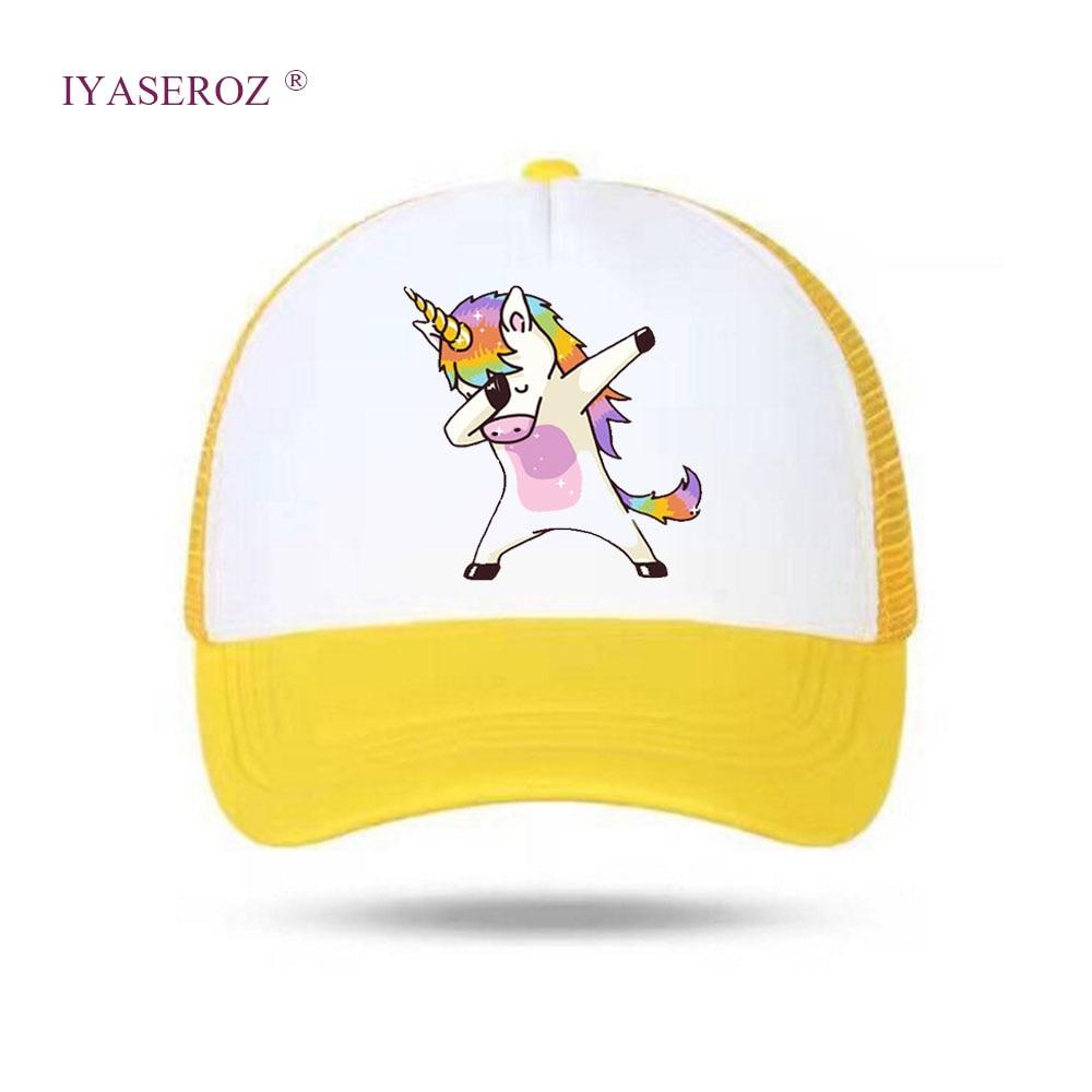 IYASEROZ Baby Child Baseball Hat Net Snapbacks Kids/Adult Cap Curved Peaked Caps Custom LOGO Dabbing Unicorn #2 Hats Summer Wear