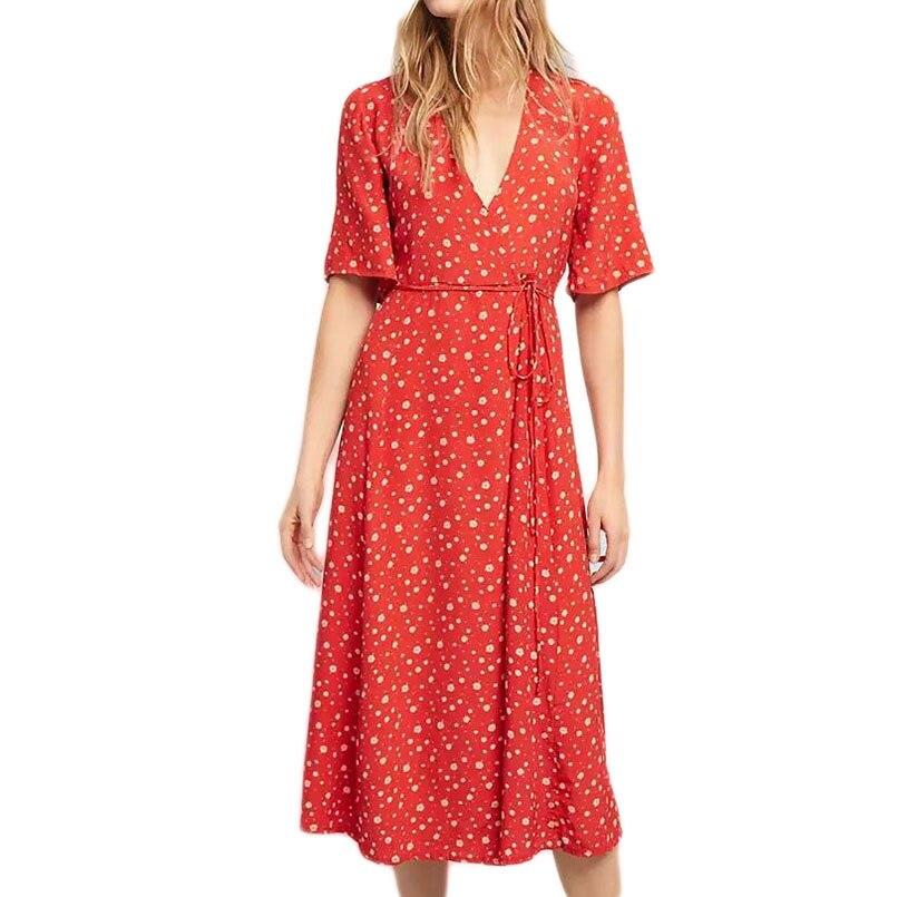 2019 été femmes robe de plage en mousseline de soie Floral longues robes d'enveloppe rouge